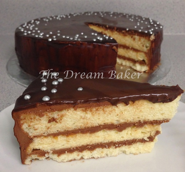 Vanilla Chiffon Cake with Nutella® Buttercream Frosting and Mint Chocolate Ganache