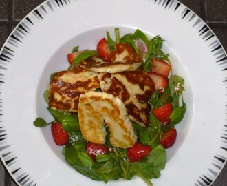 Halloumi, Strawberry and Basil Salad with a Blackberry or Balsamic Vinegar Dressing Recipe