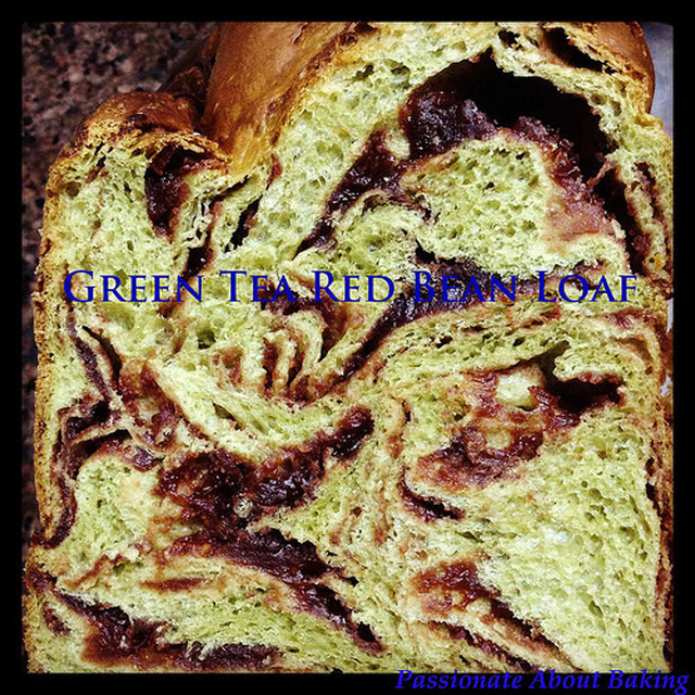 Green Tea Red Bean Bread Loaf