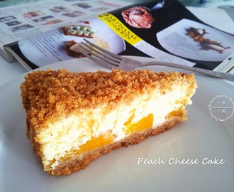 Peach Cheesecake with Digestive Biscuit Streusel