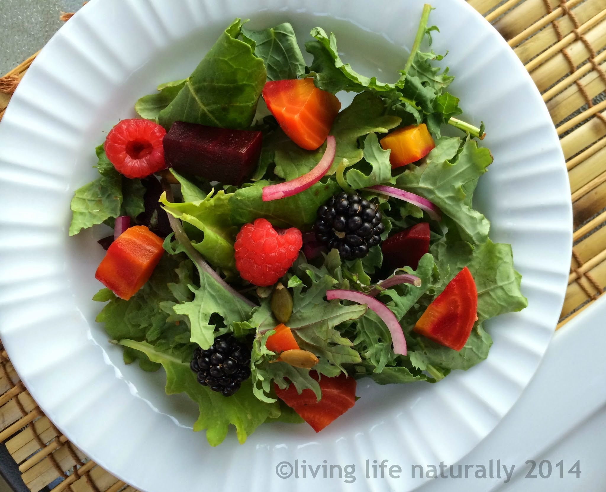 Kale, Beet and Berry Salad with Raspberry Vinaigrette