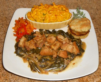 Soul Food!  Pork Belly & Collard Greens - Marjoram Mac & Cheese - Roasted Sweet Mini Peppers - Cilantro Jack Buttermilk Biscuits