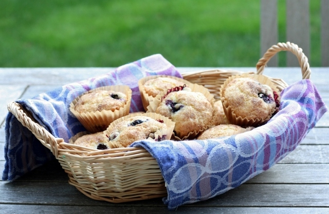 Dairy Free Blueberry Muffins with Cinnamon Sugar