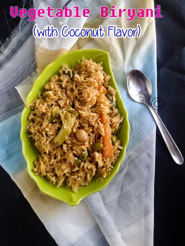 VEGETABLE BIRYANI - COCONUT FLAVOR I COCONUT MILK VEGETABLE BIRYANI I RICE VARIETIES I BIRYANI RECIPES