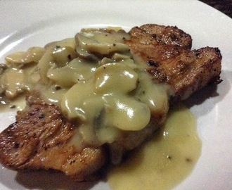 PAN-GRILLED PORK STEAK with MUSHROOM GRAVY