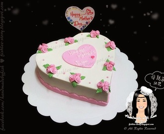 Heart Shape Fondant Cake with Roses. (Tutorial)