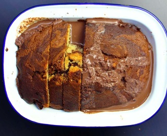 chilli chocolate and clementine marble cake with a chilli chocolate custard