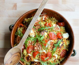 5:2 Diet Spiced Moroccan Cauliflower Couscous – Tabbouleh with Halloumi (56 calories)