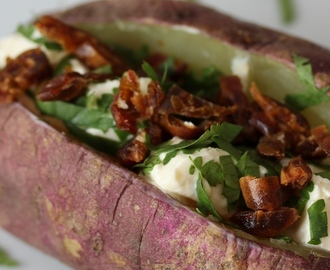 Baked Sweet Potato with Philadelphia, Dates & Coriander