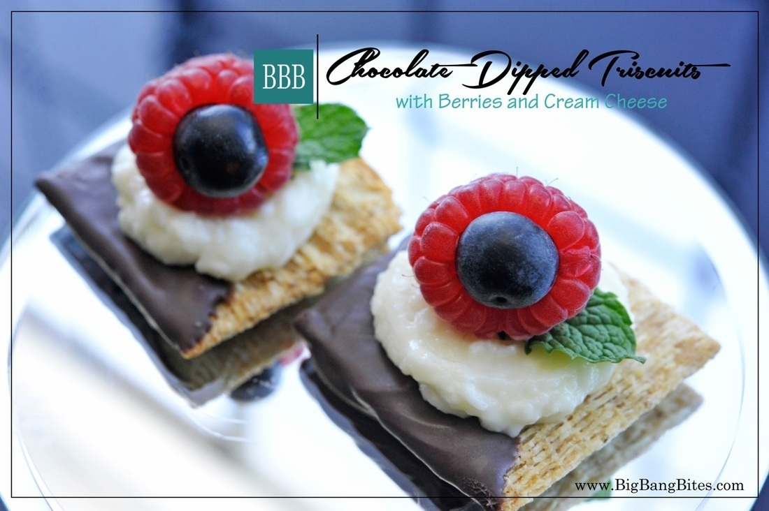 Chocolate Dipped Triscuits with Berries and Cream Cheese