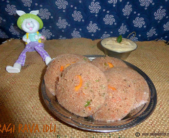 Ragi Rava Idli Recipe / Instant Ragi Rava Idli Recipe / Ragi Vegetable Idli Recipe - Millet Recipes