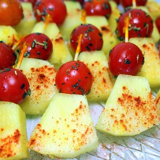 Pineapple / Cherry Tomatoes = Sweet and Savory on a Stick - 52 Church PotLuck Appetizers