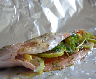 Oven baked fish with lemon, dill and capers