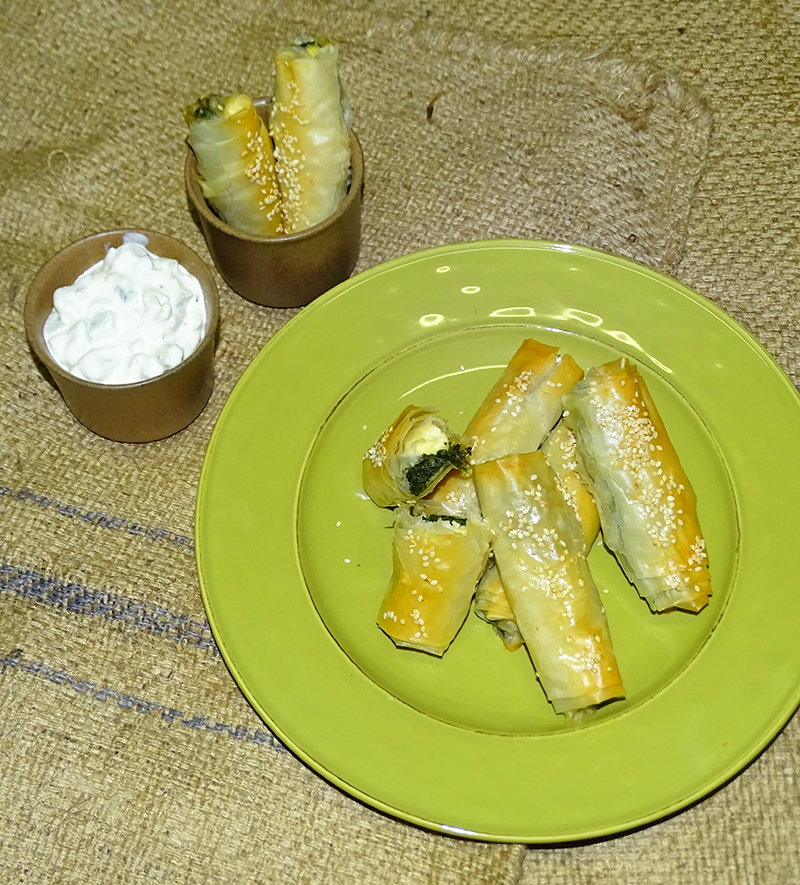 My take on spanakopita: Spinach and feta cigars
