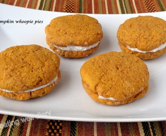 Pumpkin Whoopie pies (whole wheat, egg-free)