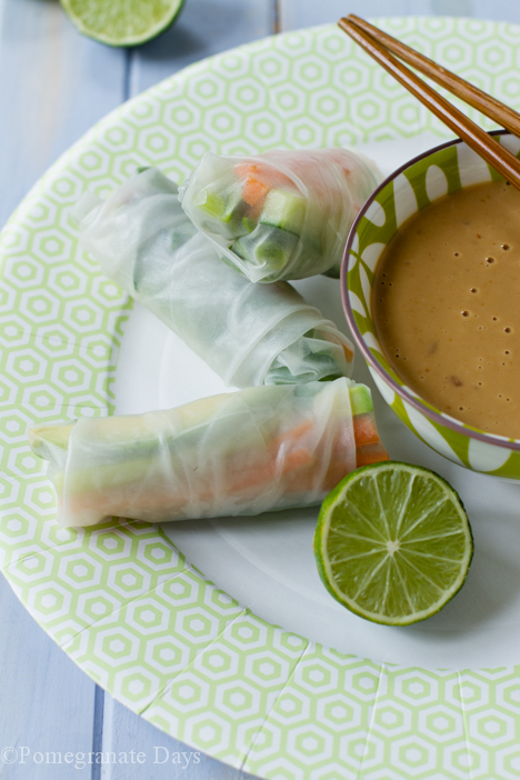 Vegetable Rice Paper Rolls & Peanut Sauce