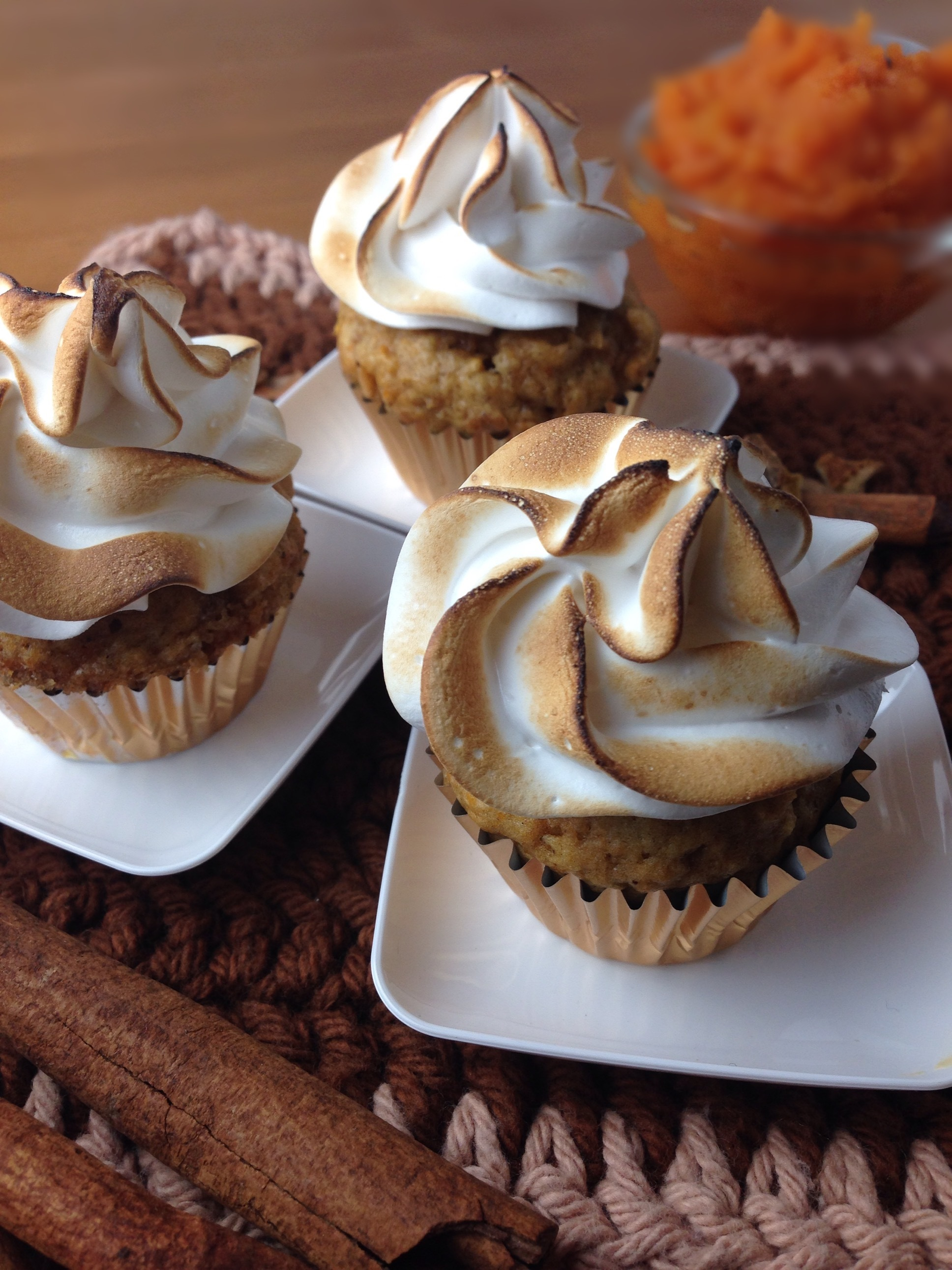 Sweet Potato Caramel Cupcakes with Toasted Marshmallow Frosting