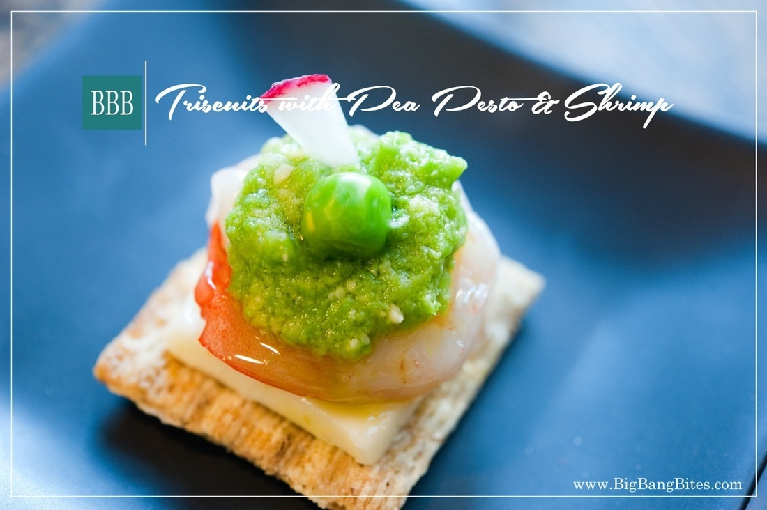 Triscuits with Pea Pesto and Shrimp