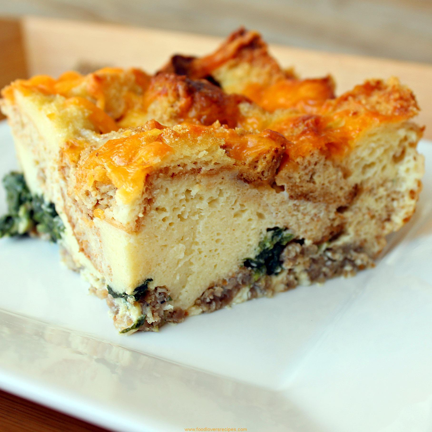 BREAKFAST CASSEROLE WITH SAUSAGE AND SPINACH