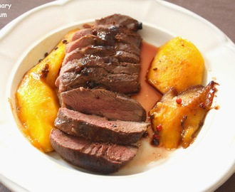 Magrets de canard aux mangues, baies roses et poivre Sichuan (Duck breast with mango, pink pepper and Sichuan pepper)