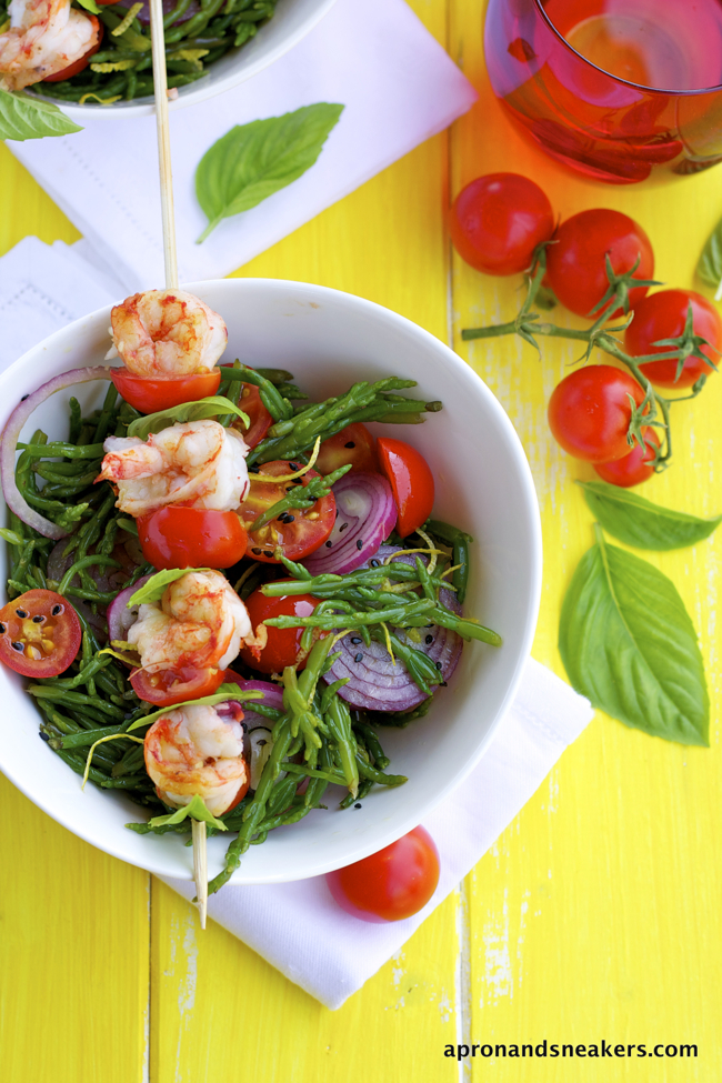 Sea Asparagus Salad with Grilled Shrimp Skewers and Isola del Giglio (Giglio Island)