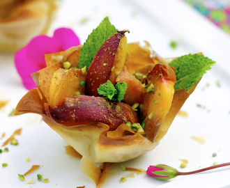 Passito di Pantelleria Peaches & Cream with Pistachios in Phyllo Baskets and the Dolomites