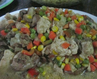 CHICKEN LIVER and MIXED VEGETABLES in CREAM