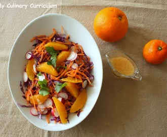 Salade au chou rouge, carottes, radis, orange et sa vinaigrette à la clémentine et au miel (Salad with red cabbage, carrots, radishes, orange and Clementine vinaigrette and honey)