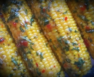 Grilled Sweetcorn with Sweet Chilli, Coriander & Lime (The Cake the Buddha Ate)
