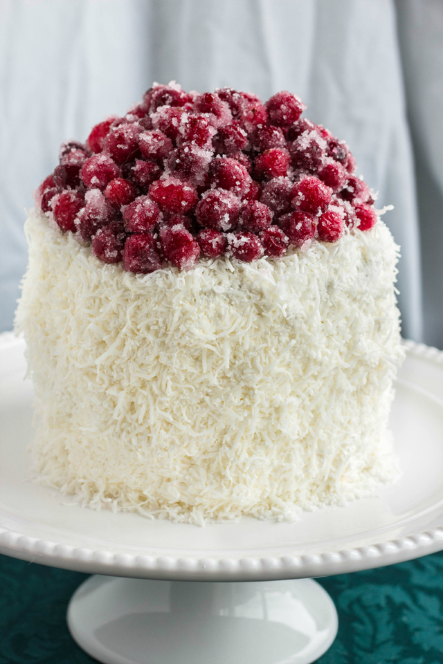 Candied Cranberries and Coconut Christmas Cake
