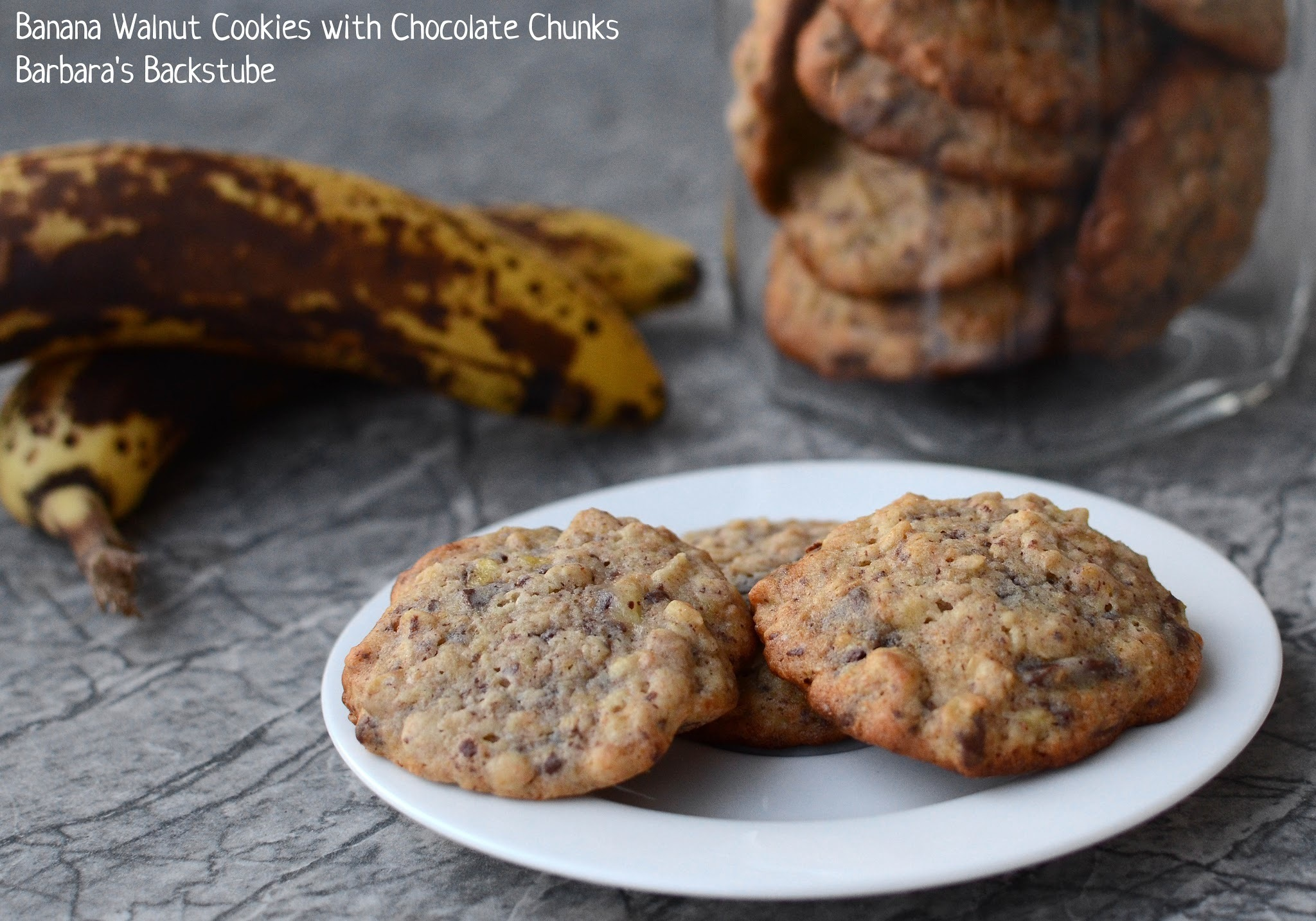 Banana Walnut Cookies with Chocolate Chunks