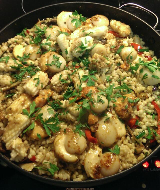 SEAFOOD STIRFRY WITH PEARL COUSCOUS