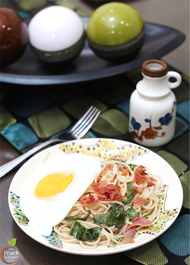 Breakfast Spaghetti with Bacon and Eggs
