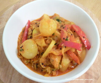 Cabbage,  New baby potatoes and Sweet Thai chillies Curry with baby onions
