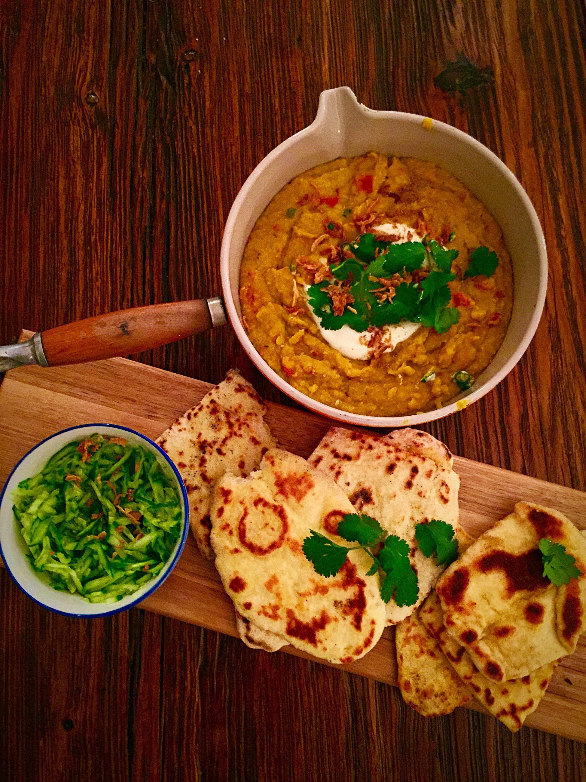 Lentil Curry with Homemade Naan Bread