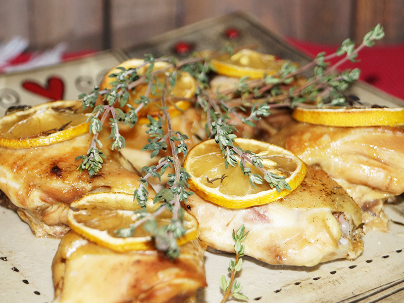 Chicken thighs with lemon and thyme