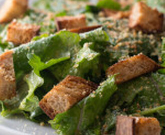 Roasted Garlic Caesar Salad with Baby Kale