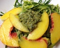 Zucchini Spaghetti with Pumpkin Seed Pesto + Peaches