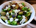 Bacon & Caramelized Onion Brussels Sprouts with Herbed Goat Cheese