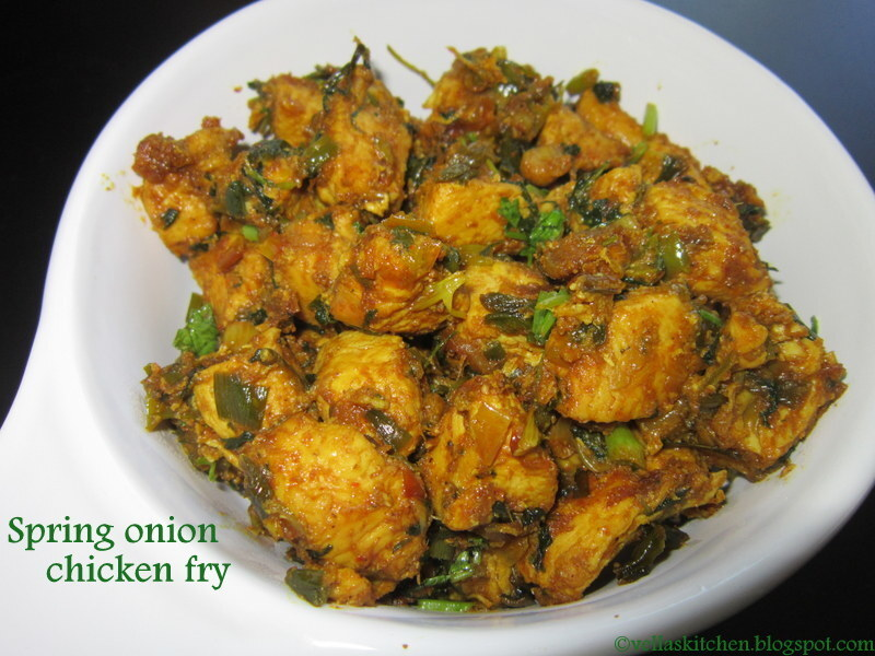 Spring onion Chicken Fry