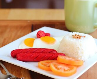 Hotdog and Egg with Garlic Rice