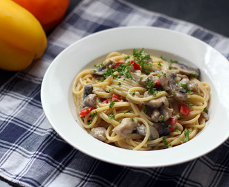 Creamy Chicken, Mushroom and Bell Pepper Pasta