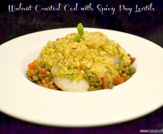 Walnut Crusted Cod with Spicy Puy Lentils #HealthyTreats with Rennie