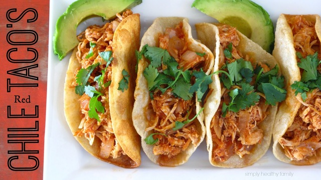 Red Chile Shredded Chicken Tacos. How to win over your man's stomachand steal his heart #SundaySupper
