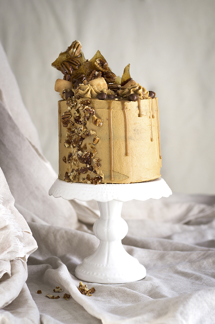 Muscovado Drizzle Cake with Pecan Nuts and Cream Cheese Frosting
