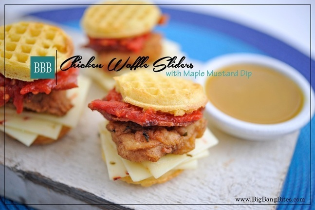 Chicken Waffle Sliders with Maple Mustard Dip