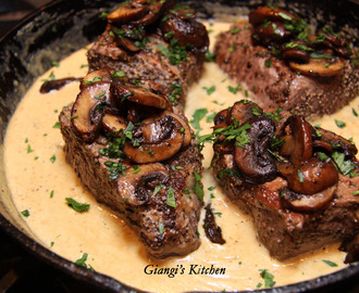 New York Steaks with Mustard and Mushrooms