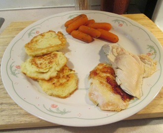 Baked Bone-In Whole Chicken Breast w/ Potato Pancakes and Glazed Baby Carrots