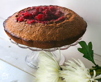 Buckwheat cake with raspberry and cider sauce