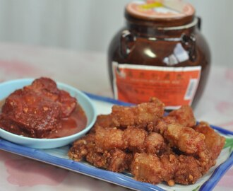 Crispy pork with Red Fermented Beancurd-炸南乳三层肉